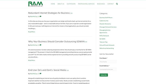 RAM Blog Page