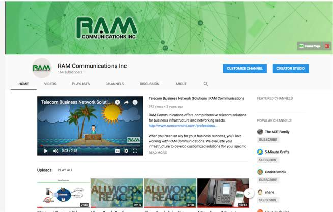 RAM Communications YouTube Page
